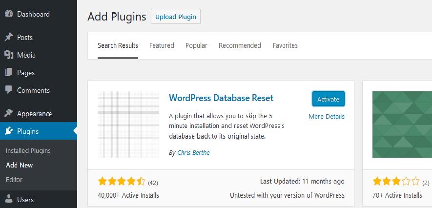 WordPress Reset Plug-in Make things better